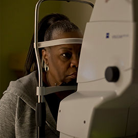 patient receiving a retina test