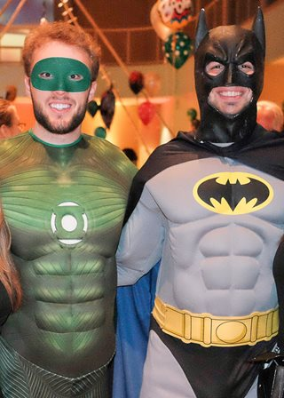 Men dressed as Batman & Robin